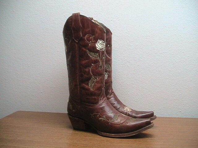 Damenschuhe Damenschuhe Damenschuhe 9.5 M Corral Circle G Cognac Braun Leder Rose Western Cowboy Stiefel a7e17f