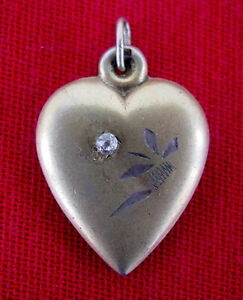 Russian Silver Pendant HEART Gold Plated, Sterling, Stone, USSR 1920