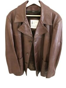London-Fog-Vintage-braun-Lederjacke-Herren-Faux-Fell-Zip-Out-Futter-SZ-46r-USA