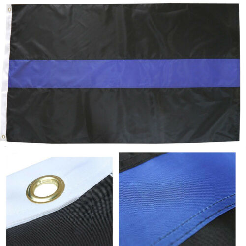 2x3 Embroidered Police Thin Blue Line 210D Sewn Stripes Nylon Flag 2/'x3/' Banner