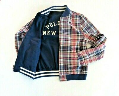 Ralph Lauren POLO Boys Reversible Jacket Multi Check//Navy Blue  R.R.P $139.0