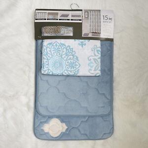 Turquoise-Bath-Set-2-Memory-Foam-Floor-Mats-Fabric-Shower-Curtain-Shower-Hooks