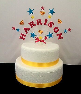 Admirable Personalised Superman Superhero Birthday Cake Topper Any Name Birthday Cards Printable Riciscafe Filternl