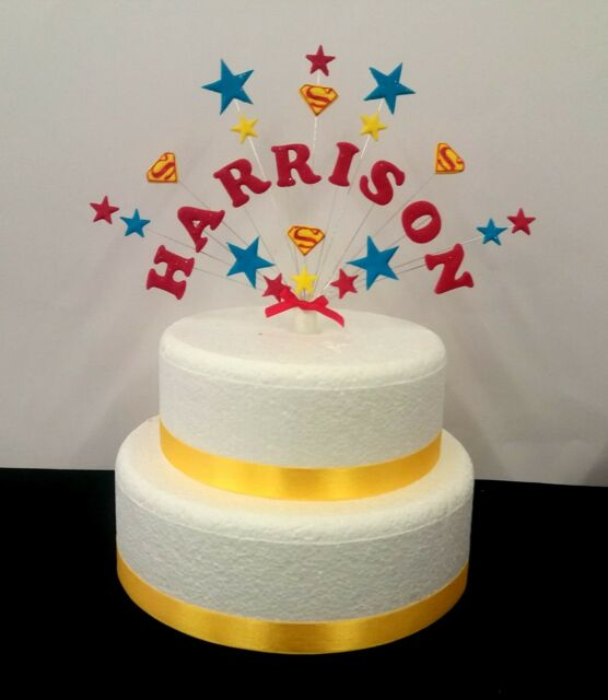 Personalised Superman Superhero Birthday Cake Topper Any Name And