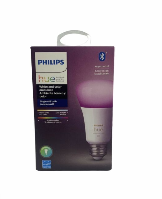 NEW Philips Hue White and Color Ambience A19 2000 - 6500 K Warm to cool 1 pack.