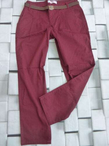 120 NUOVO Sheego Pantaloni Chino Tg 42 corto dimensioni 21 bordeaux argilla con cintura