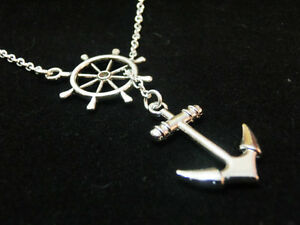 Vintage-Anchor-silver-necklace-pendant-antique-rudder-connector-chain-necklace