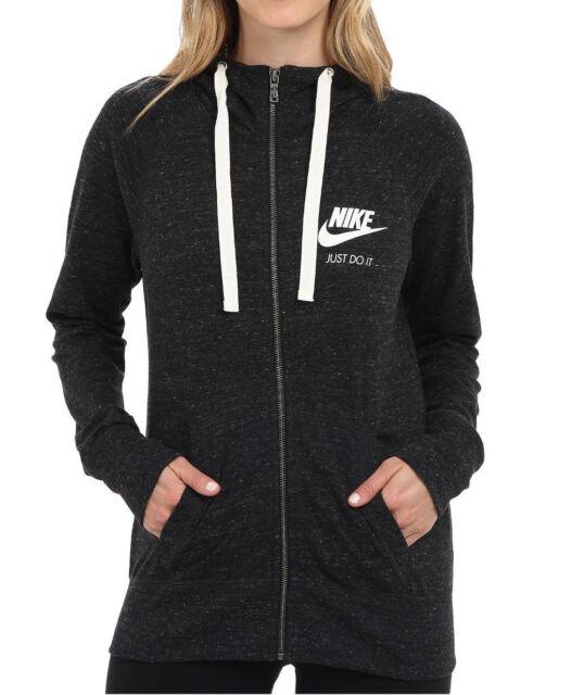 Nike Women s Gym Vintage Black Sail Full-Zip Hoodie (726057-010 ... 8af0784315