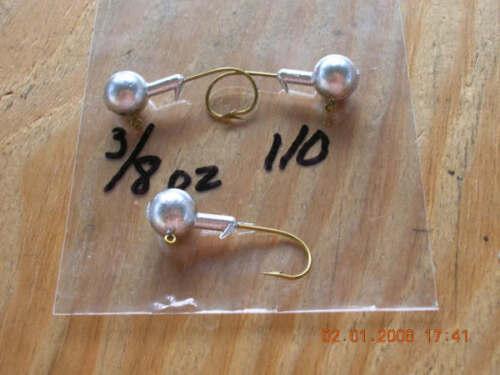 50 3//8oz Round Head Jigs Mustad Bronze Hooks #1 1//0 2//0 3//0 4//0 You Choose