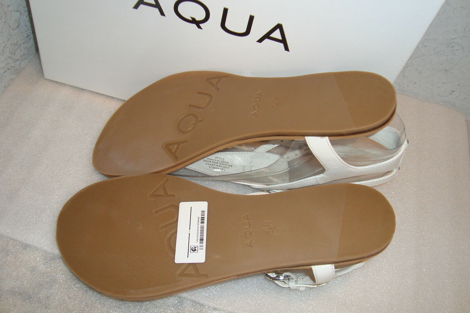 Aqua Womens NWB Famous White Leather Sandals shoes 5.5 5.5 5.5 MED NEW 46145e