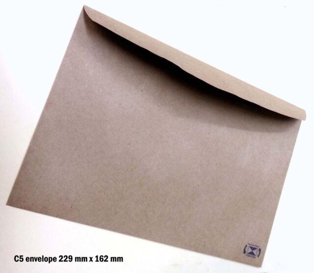 100 Envelopes Kraft Craft Recycled Brown C5