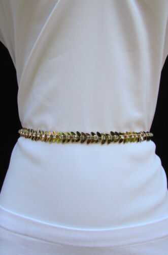 Women Fashion Metal Skinny Belt Thin Chains Flower Leaf Silver Gold Size S M L