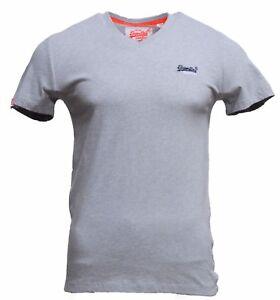 Para-hombre-de-Superdry-Orange-Label-Vintage-de-cuello-en-V-camiseta-bordado-de-Superdry-en-gris