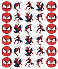 30 x Spiderman Cupcake Toppers Edible Wafer Paper Fairy Cake Toppers