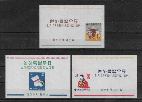 Korea Scott # 318-320a imperf Souvenir Sheets,XFMNH**,cv $33,nice color,see pic!