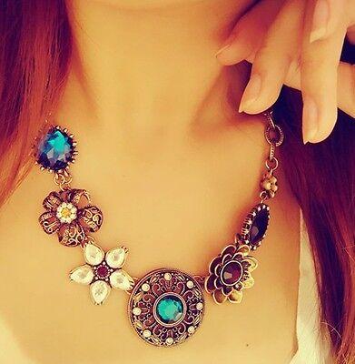 Women's Crystal Flowers Pendant Chain Bib Statement Necklace Fashion Jewelry