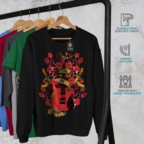 New Men Sweatshirt Roses And Rock Black Guns xq4Xc7pPw