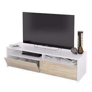 Mueble de salon, modulo de comedor acabado color Blanco Artik y Roble, Kioto