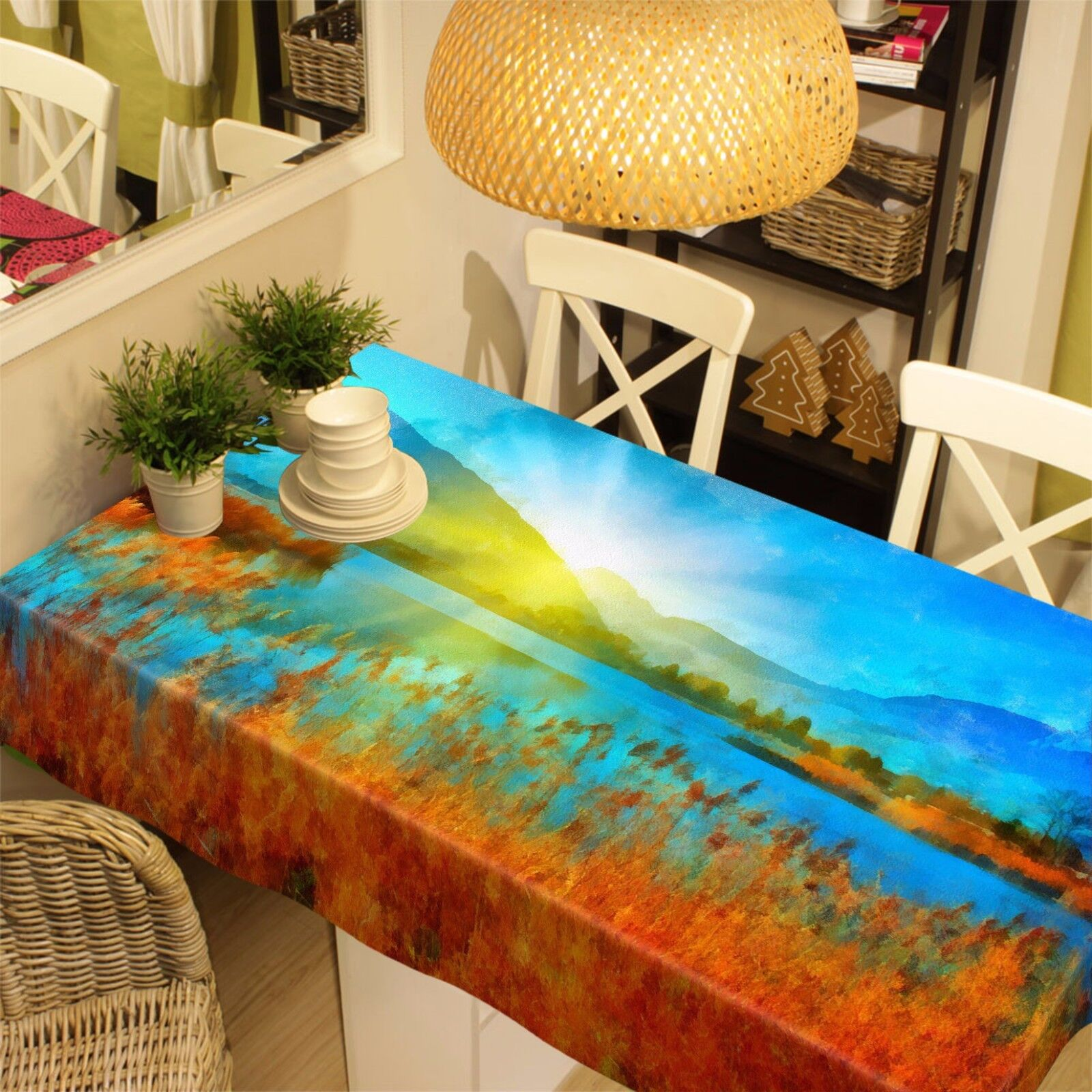 3D paille Lake 8 Nappe Table Cover Cloth Fête D'Anniversaire événement AJ papier peint UK