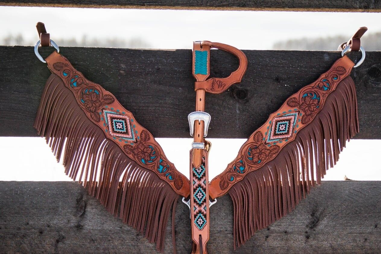 Western braun Hand Carved Beaded Inlay Set of Headstall