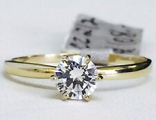 Solid Yellow Gold 14K Classic Cubic Zirconia Solitaire Engagement Ring - 5mm CZ