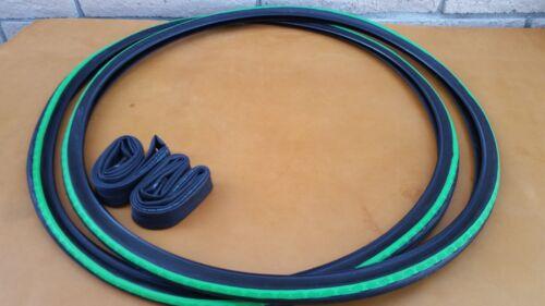 *New 2 Pak 700x28c Pair of Neon Green /& Black Tires Tubes Road Fixie Bike 700c