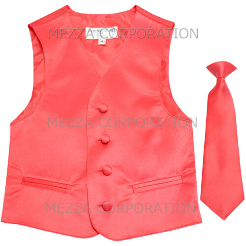 New Kids Boys Formal Tuxedo Vest Necktie Coral US Sizes 2-14 Wedding Party