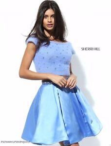 daff12943ed39 Sherri Hill 50554 Periwinkle Blue Crop Top Sweater Cocktail Dress sz ...