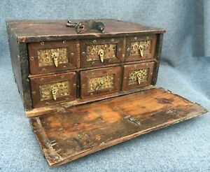 Large antique french medieval travel trunk chest box 1800's wood brass 9lb