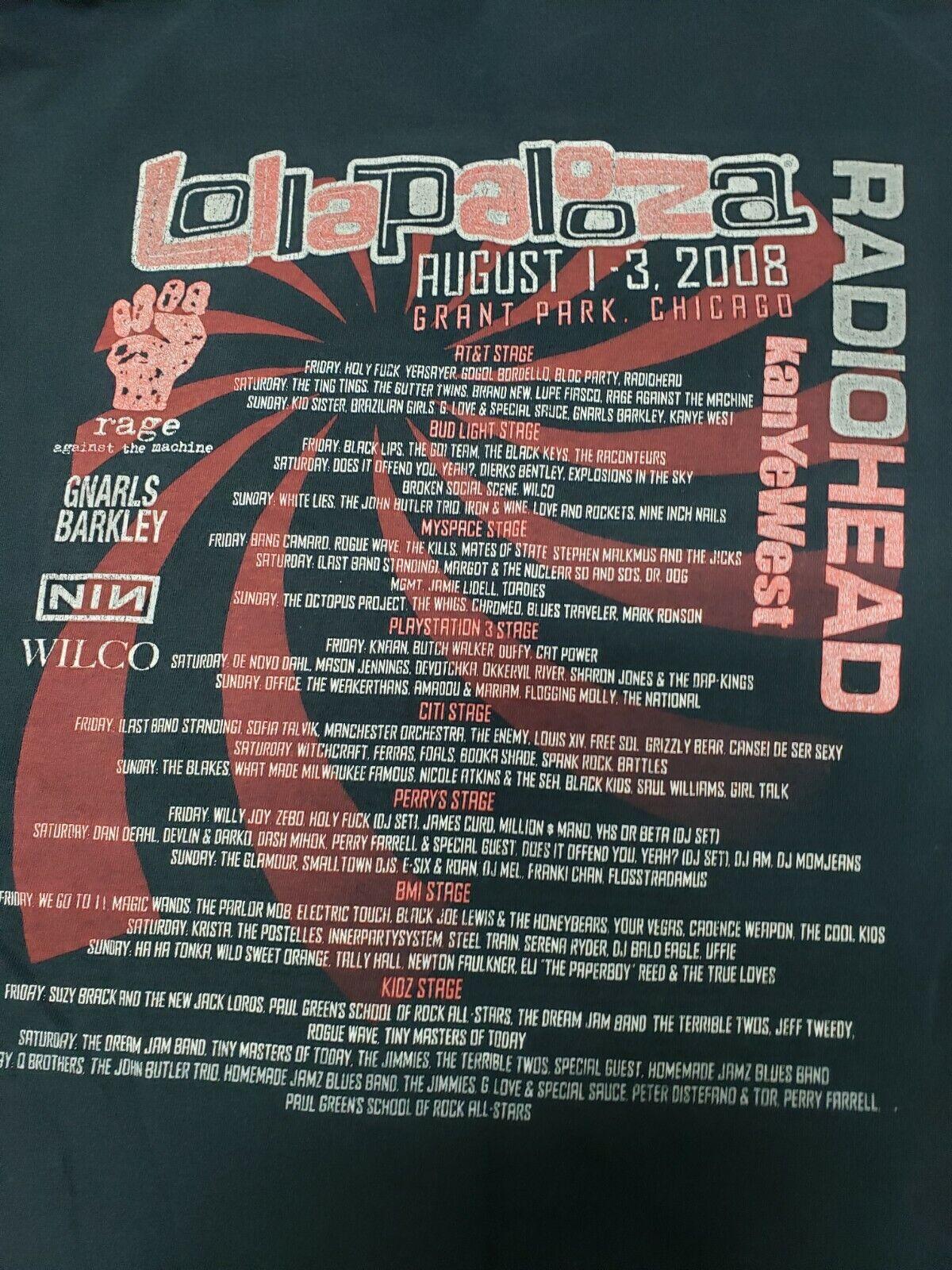 Lollapalooza T-Shirt 2008 Radiohead Rage Against … - image 7
