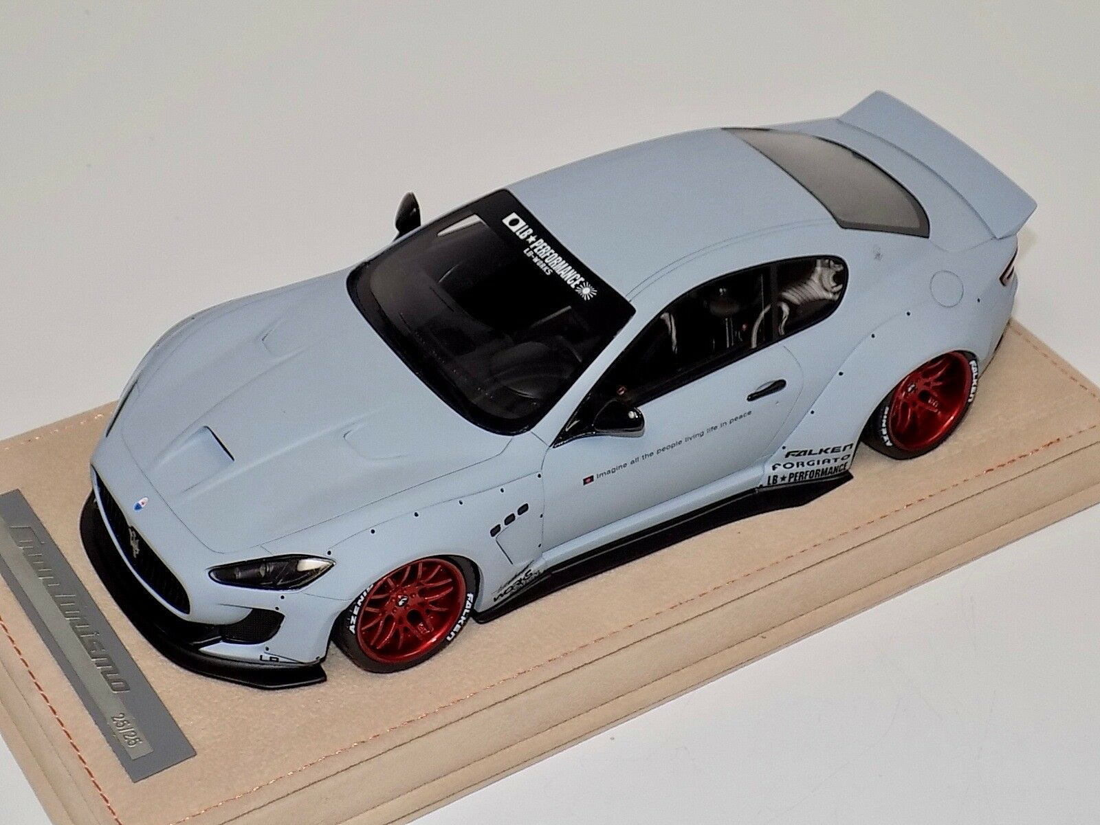 1 18 AB Models Maserati Granturismo Liberty walk Matt Grey Red Wheels Alcantara