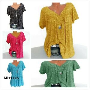 Ladies-tops-V-Neck-Summer-Tee-Plus-Size-Loose-Short-Sleeve-Floral-Blouse