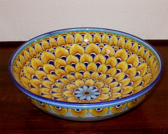 "DERUTA ITALIAN POTTERY 12"" YELLOW PEACOCK FEATHERS ROUND BOWL, FREE SHIPPING"