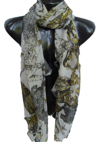 BIG CATS LIONS TIGER LEOPARD ANIMAL PRINT LARGE LADIES SCARF SHAWL SARONG UKSELL