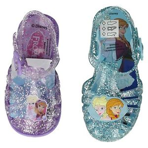 aec73c6ee2a9a Details about GIRLS DISNEY FROZEN GLITTER BLUE LILAC JELLY SHOES BEACH  SUMMER SANDALS SIZE