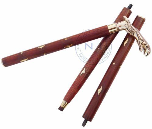 Vintage Brass Wooden Jaguar Walking Cane Brass Handle Stick cane Christmas Gift