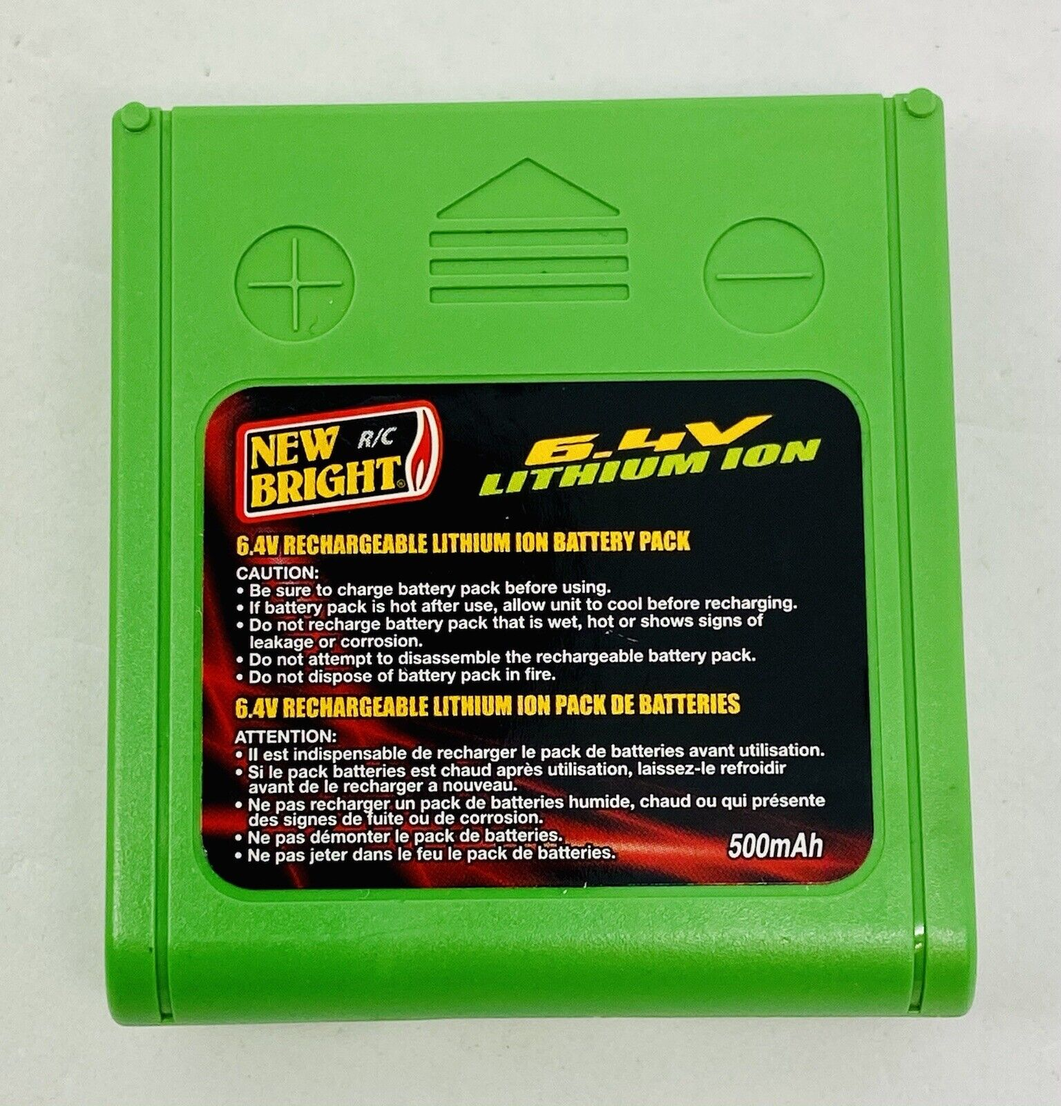 6.4V 500mAh New Bright Rechargeable Battery Pack RC Lithium Ion - Used