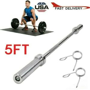 5FT Olympic Chrome Bar Weight Lifting Barbell Rod for Workout Gym Training US