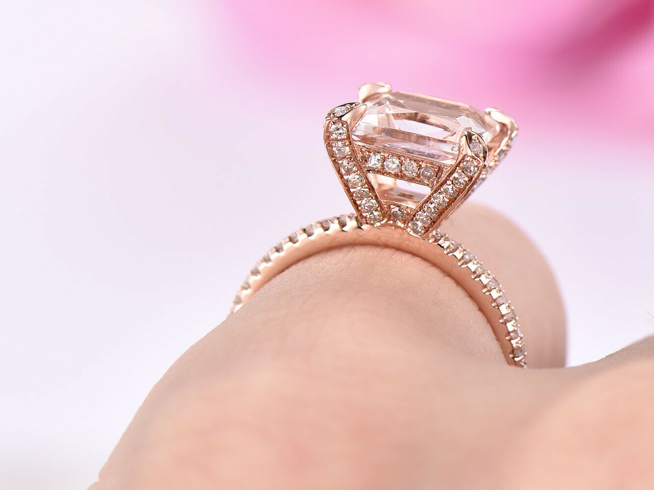 14K White gold 8mm Princess Morganite Engagement Wedding Diamond Ring 4 Prongs