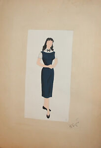 Female-Theatre-Opera-Costume-Design-Vintage-Gouache-Painting-Signed