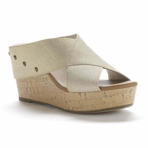SONOMA Joie Womens Shoes Heels Gold Fabric Banded Wedge Sandals Cork NEW