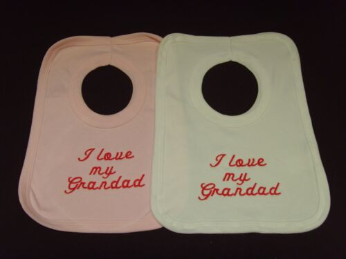 Funny Embroidered Personalised Bib Baby Shower Gift I love my Grandad