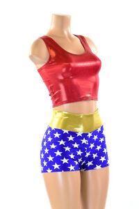 e912cf002eed2 Wonder Woman Inspired Blue Star High Waist Shorts   Red Crop Top SET ...