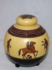 VINTAGE NIPPON PORCELAIN ROMAN FIGURES GREEK KEY DECORATED TOBACCO HUMIDOR JAR