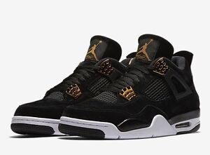 368189dd3 Nike Air Jordan IV Retro 4 Royalty Men 11 Black Gold New in Box ...