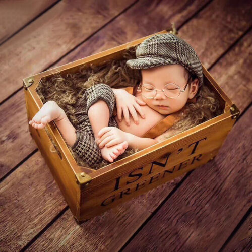 Flat Cap Photography Props Newborn Baby Boys Tweed Suspender Braced Trousers
