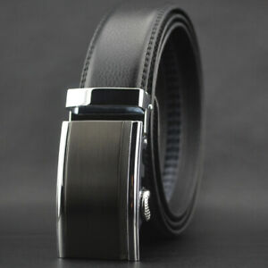 Business-Men-039-s-Cowhide-Leather-Belt-Automatic-Buckle-Waistband-Gift-Jeans-Dress