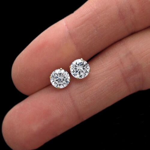 Real 14K Yellow Gold 1.68CT Created Diamond Round Earrings Solitaire Screw-back