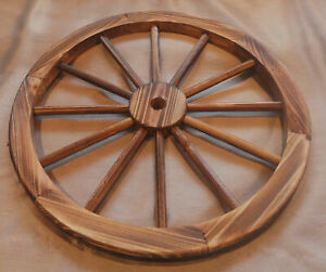 Details About 24 Decorative Wooden Wagon Wheels Real Wood Wheel W Burnt Finish Steel Band