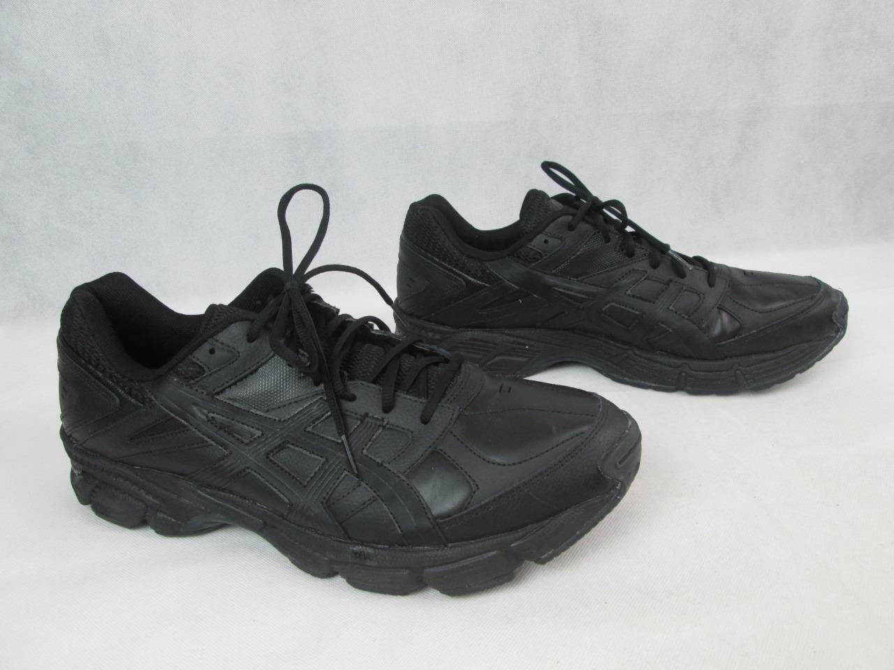 ASICS MENS S523L BLACK LEATHER LACE UP WALKING RUNNING SNEAKERS SHOES 13 NEW
